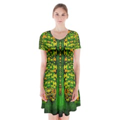 Magical Forest Of Freedom And Hope Short Sleeve V-neck Flare Dress