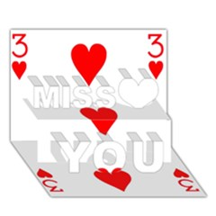 Cart Heart 03 Tre Cuori Miss You 3D Greeting Card (7x5)