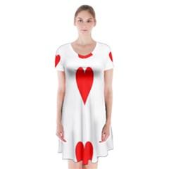 Cart Heart 03 Tre Cuori Short Sleeve V-neck Flare Dress