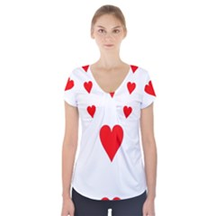 Cart Heart 03 Tre Cuori Short Sleeve Front Detail Top