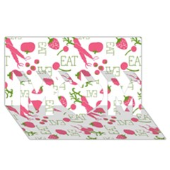 Eat Pattern Tomato Cerry Friute Mom 3d Greeting Card (8x4)
