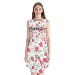 Eat Pattern Tomato Cerry Friute Sleeveless Chiffon Dress