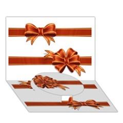 Gift Ribbons Circle Bottom 3d Greeting Card (7x5)