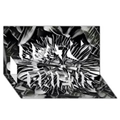 Black And White Passion Flower Passiflora  Best Friends 3d Greeting Card (8x4)