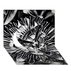 Black And White Passion Flower Passiflora  Heart 3d Greeting Card (7x5)