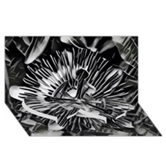 Black And White Passion Flower Passiflora  Twin Heart Bottom 3d Greeting Card (8x4)