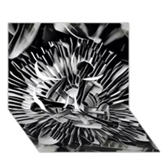 Black And White Passion Flower Passiflora  Clover 3d Greeting Card (7x5)