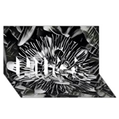 Black And White Passion Flower Passiflora  Hugs 3d Greeting Card (8x4)