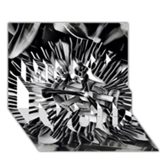 Black And White Passion Flower Passiflora  Miss You 3d Greeting Card (7x5)
