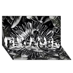 Black And White Passion Flower Passiflora  Engaged 3d Greeting Card (8x4)