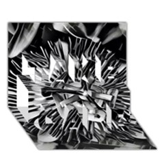 Black And White Passion Flower Passiflora  Take Care 3d Greeting Card (7x5)