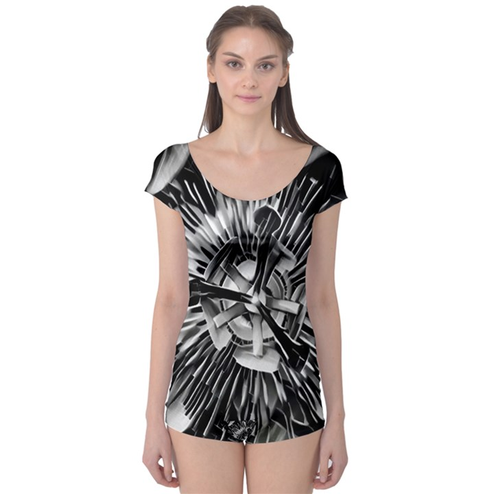 Black And White Passion Flower Passiflora  Boyleg Leotard