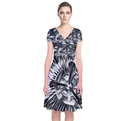 Black And White Passion Flower Passiflora  Short Sleeve Front Wrap Dress