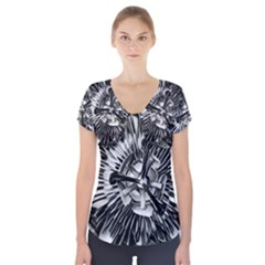 Black And White Passion Flower Passiflora  Short Sleeve Front Detail Top