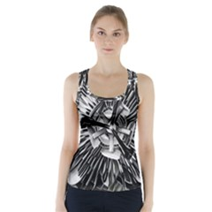 Black And White Passion Flower Passiflora  Racer Back Sports Top