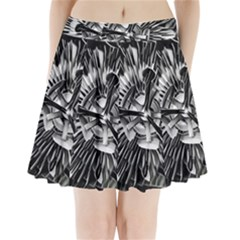 Black And White Passion Flower Passiflora  Pleated Mini Skirt