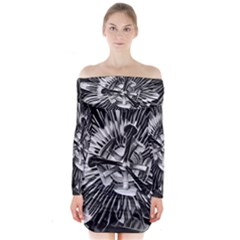 Black And White Passion Flower Passiflora  Long Sleeve Off Shoulder Dress