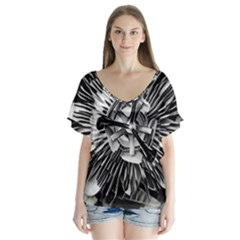 Black And White Passion Flower Passiflora  Flutter Sleeve Top