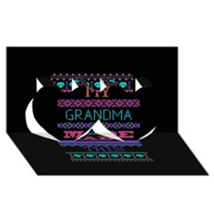 My Grandma Made This Ugly Holiday Black Background Twin Hearts 3D Greeting Card (8x4)