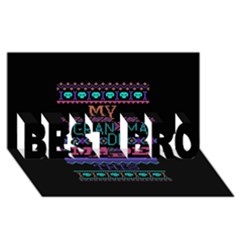 My Grandma Made This Ugly Holiday Black Background BEST BRO 3D Greeting Card (8x4)