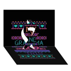 My Grandma Made This Ugly Holiday Black Background Ribbon 3D Greeting Card (7x5)
