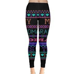 My Grandma Made This Ugly Holiday Black Background Leggings