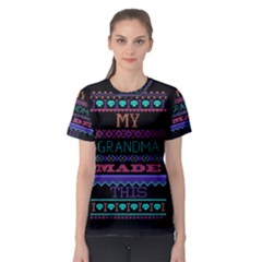 My Grandma Made This Ugly Holiday Black Background Women s Sport Mesh Tee