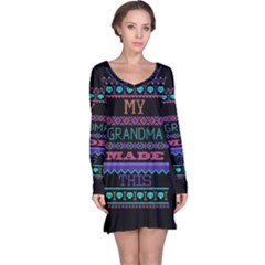 My Grandma Made This Ugly Holiday Black Background Long Sleeve Nightdress
