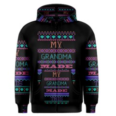 My Grandma Made This Ugly Holiday Black Background Men s Zipper Hoodie