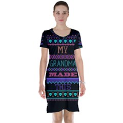 My Grandma Made This Ugly Holiday Black Background Short Sleeve Nightdress