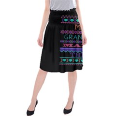 My Grandma Made This Ugly Holiday Black Background Midi Beach Skirt