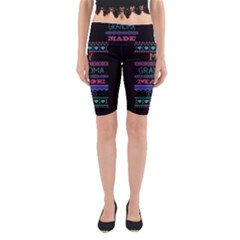 My Grandma Made This Ugly Holiday Black Background Yoga Cropped Leggings