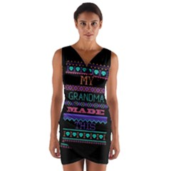 My Grandma Made This Ugly Holiday Black Background Wrap Front Bodycon Dress