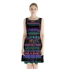 My Grandma Made This Ugly Holiday Black Background Sleeveless Chiffon Waist Tie Dress