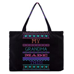 My Grandma Made This Ugly Holiday Black Background Medium Zipper Tote Bag