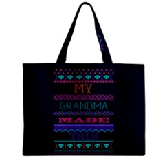 My Grandma Made This Ugly Holiday Blue Background Zipper Mini Tote Bag
