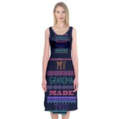 My Grandma Made This Ugly Holiday Blue Background Midi Sleeveless Dress