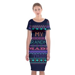My Grandma Made This Ugly Holiday Blue Background Classic Short Sleeve Midi Dress
