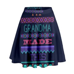 My Grandma Made This Ugly Holiday Blue Background High Waist Skirt