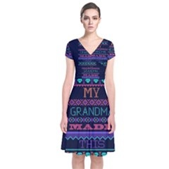 My Grandma Made This Ugly Holiday Blue Background Short Sleeve Front Wrap Dress