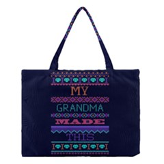 My Grandma Made This Ugly Holiday Blue Background Medium Tote Bag