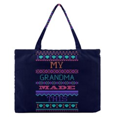 My Grandma Made This Ugly Holiday Blue Background Medium Zipper Tote Bag