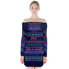 My Grandma Made This Ugly Holiday Blue Background Long Sleeve Off Shoulder Dress