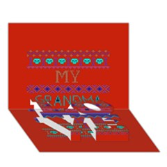 My Grandma Made This Ugly Holiday Red Background LOVE Bottom 3D Greeting Card (7x5)