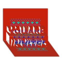My Grandma Made This Ugly Holiday Red Background You Are Invited 3d Greeting Card (7x5)