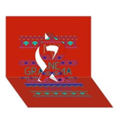 My Grandma Made This Ugly Holiday Red Background Ribbon 3D Greeting Card (7x5)