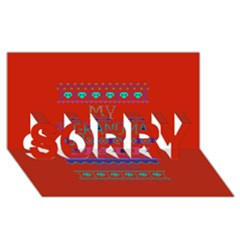 My Grandma Made This Ugly Holiday Red Background SORRY 3D Greeting Card (8x4)