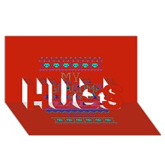 My Grandma Made This Ugly Holiday Red Background HUGS 3D Greeting Card (8x4)