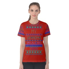 My Grandma Made This Ugly Holiday Red Background Women s Cotton Tee