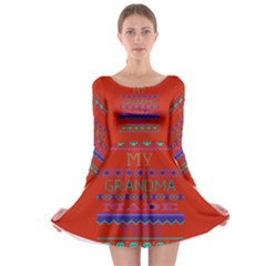 My Grandma Made This Ugly Holiday Red Background Long Sleeve Skater Dress